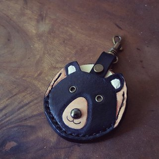Taiwan black bear gogoro key pure leather leather cover back lettering