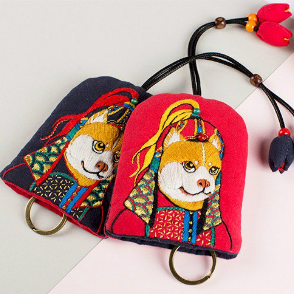Tadashi Akita Pure Handcrafted Embroidery Key Holder A Huang Wang Choi Doggies Puppies Storage Bag Coin Purse Wuyi Year of the Rabbit Benming Mascot Gift Pure Handmade Embroidery Blessings Safe Pingyi Upscale New Chinese Original Creative Creative Retro An