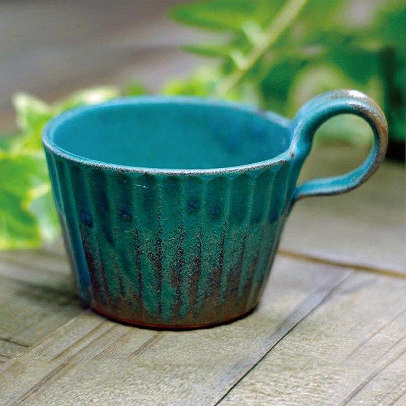有種創意 -日本職人手作 - 青綠燻刻紋提耳杯
