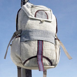 Christmas gift exchange gift emergency gift limited a piece of cotton stitching design backpack / shoulder bag / mountaineering bag / traveling bag / computer bag - blue sky natural color backpack