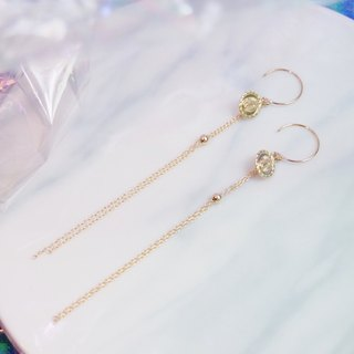 Swanlace vintage gold coin tag long tassel 14kgf gold earrings / ear clip