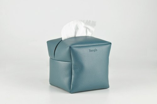 Square Tissue Box Cover, Facial Tissue Holder, Soft Touch, Dark Blue