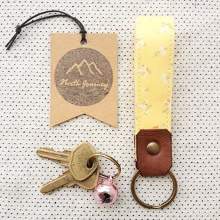 Yellow ,Sunshine ,Personalized Fabric Fob Leather Key Chain,Custom Keychain,Stamped Gift For Her