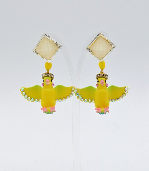 TIMBEE LO Yellow Bird Crystal Earrings