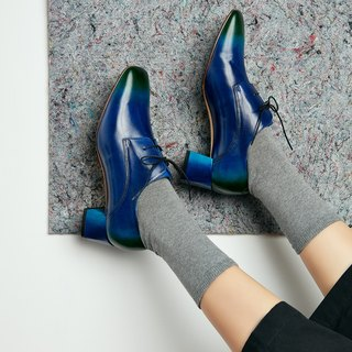 H THREE Classic Square Head Derby Heel / Blue Green / Gradient / Loch Ness / Thick Heel / Vintage