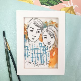 Couple Custom Portraits | Valentine's Day Gifts - (with photo frame)