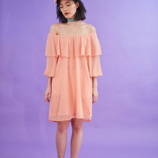 Open flare shoulder dress (peach)