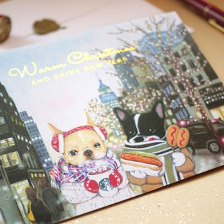 French Bulldog Illustration NYC Christmas Card / Postcard 【5 Piece, 1 Style】