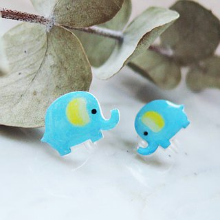 Azure baby elephant cute handmade earrings elephant anti-allergic ear acupuncture painless ear clip