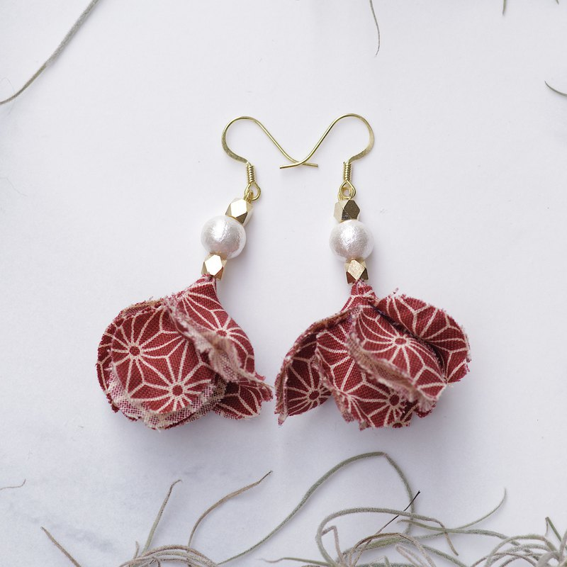 Mika | Unique Japanese Sakura Fabric Flower Earring with Golden Plating Hook