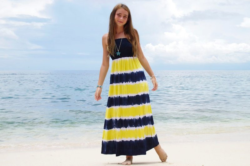 New! Tie Dye Strapless Resort dress <lemon navy>
