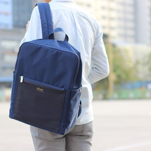 [New Limited Time Offer] Kendall Navy Army Blue Leather Waterproof Textured Water Nylon Laptop Backpack