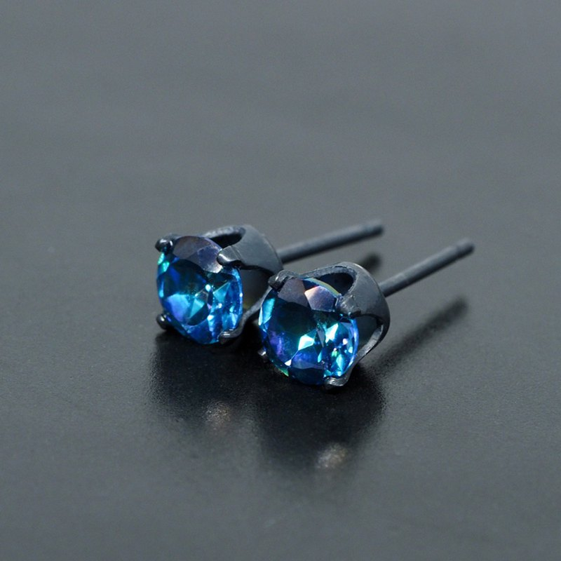 Midnight Blue Mystic Quartz Stud Earrings - Black Sterling Silver - 5mm Round