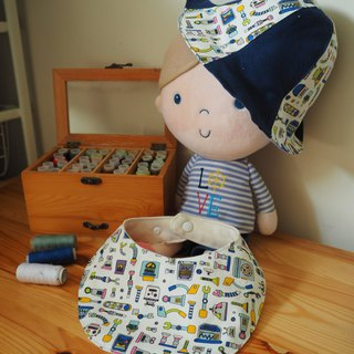 Handmade reversible blue robot hat and bib gift set