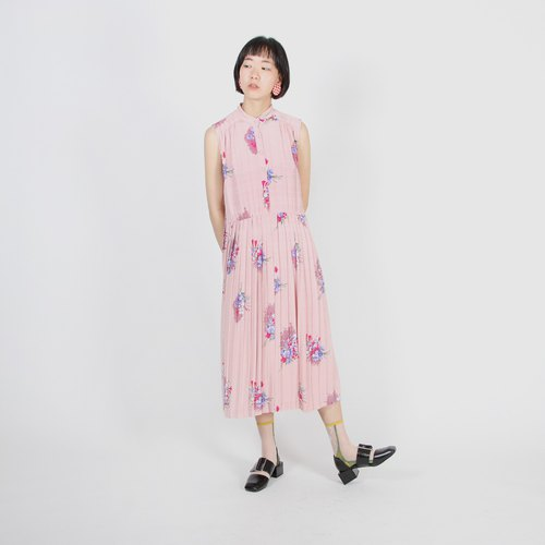 [Egg Plant Vintage] Pastel Floral Print Sleeveless Vintage Dress