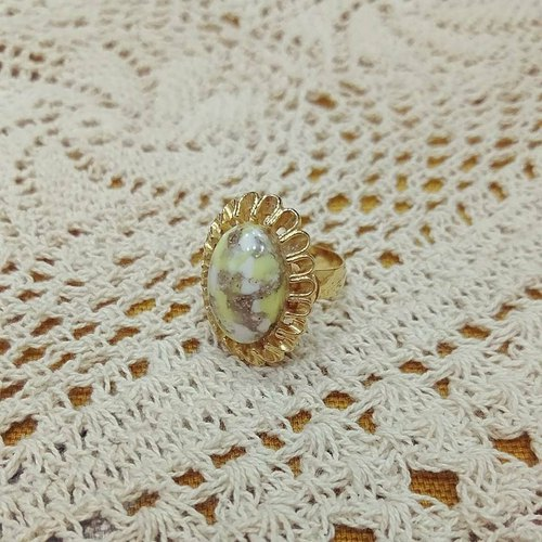 [VINTAGE] Gold Lace Ellipse, Fancy, Gemstone Ring