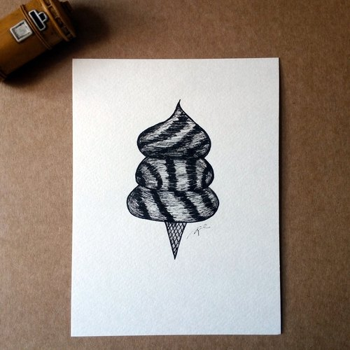 Hand drawing card / postcard (ice cream - original)