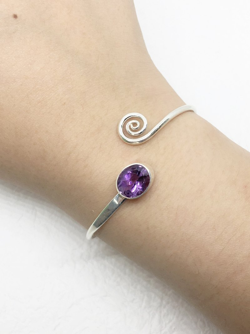 Amethyst 925 sterling silver curve design hand ring Nepal handmade mosaic production