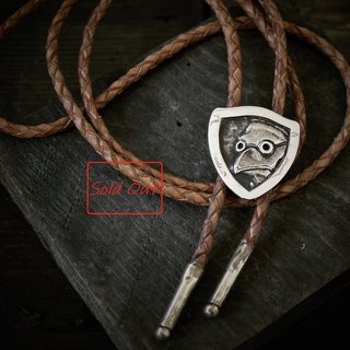 Plague physician embossed handmade silver paulet doctor plague doctor silver bolo tie