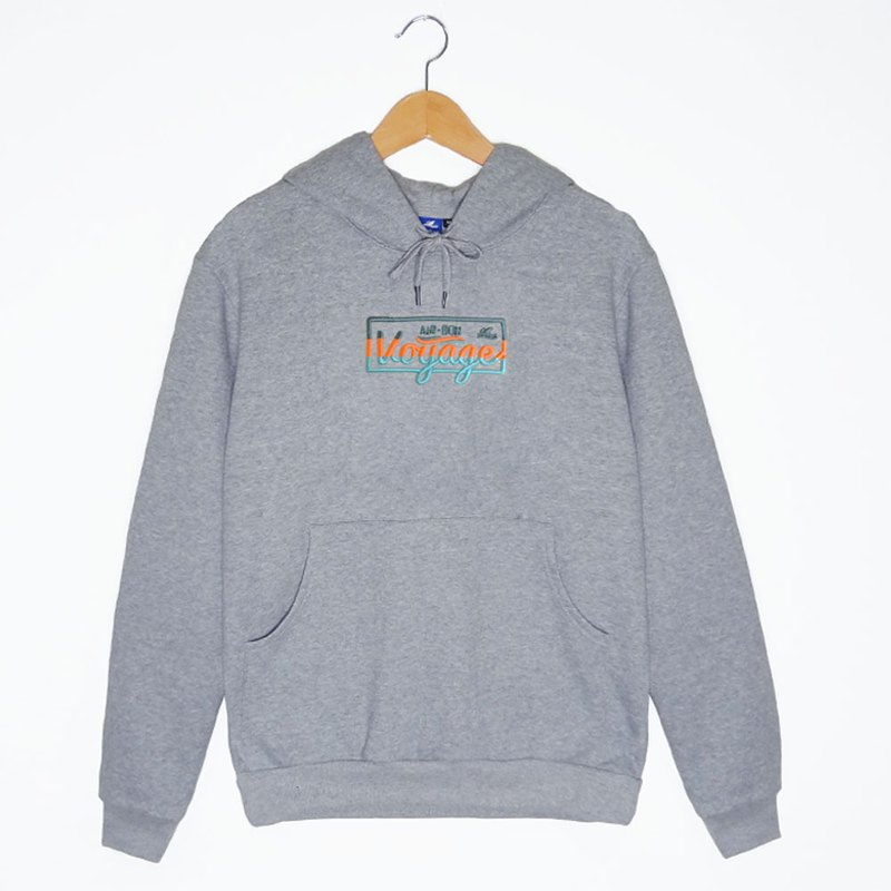 BON VOYAGE Embroidery Hoodies-Gray