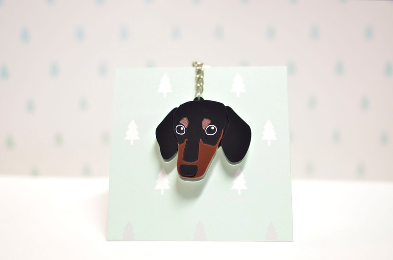 Four-headed sausage - short-haired - key ring acrylic