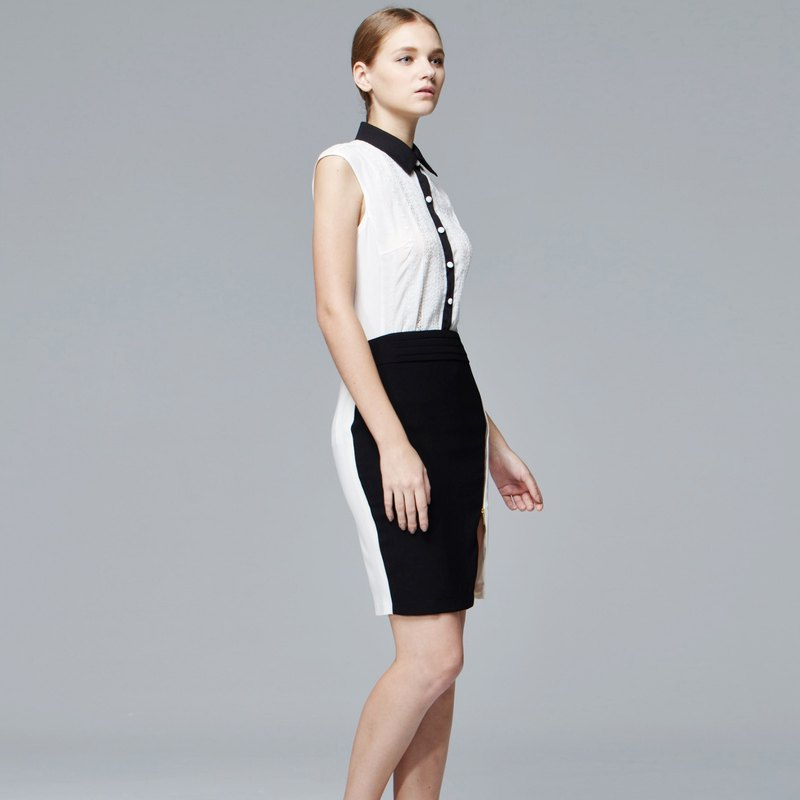 PINKOI limited blessing bag - white front open sleeveless shirt + black and white stitching fit skirt