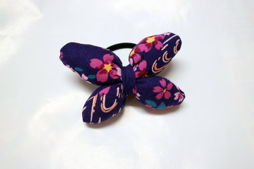 Purple Q Cotton Butterfly Hair Tie Hair Ring*SK*
