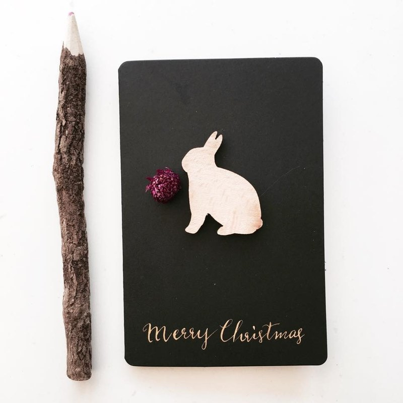 Wood rabbit arum dried flowers Western calligraphy Christmas birthday card