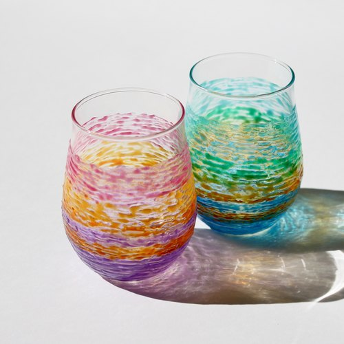 Painted Rainbow Multi Color Glass Couple Cup Set