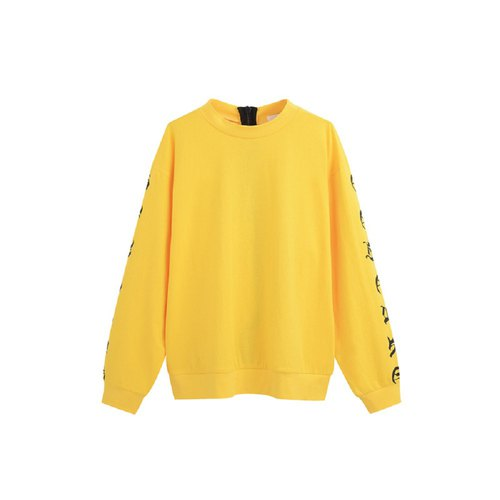 HOT HEART Goethe Print Long Sleeve Top - Yellow
