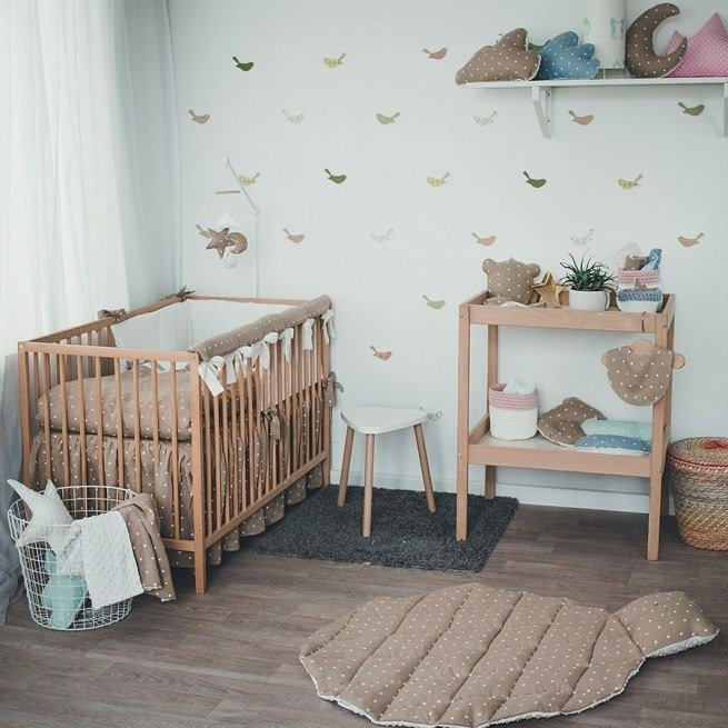 Pastel brown baby bedding set, linnen pillow and duvet cover, rail cover, bumper, bed skirt, bed sheet