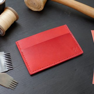 [Christmas limited offer] simple business card holder - chili red [Fulie District carved leather]