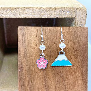 Blue Mt. Fuji with Sakura Silver 925 & Fresh Water Pearl Earrings