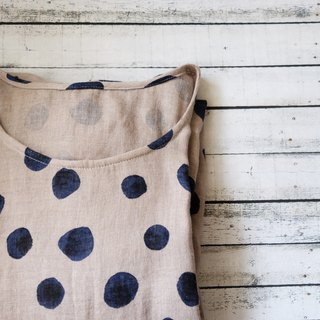 Apricot-rendered blue dot cotton and linen wide A-line dress