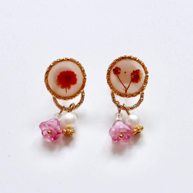 Orange Pressed Flower Earrings with Tiny Transparent and Cotton Beads