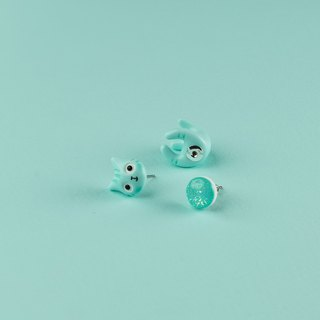 Mint Polymer Clay Earrings -  Spring Cat Earrings