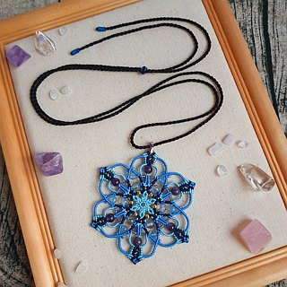 N001-Hand-woven Mandala Energy Necklace Amethyst Ice Cracked Pearl Blue Ethnic Wind Sweater Chain