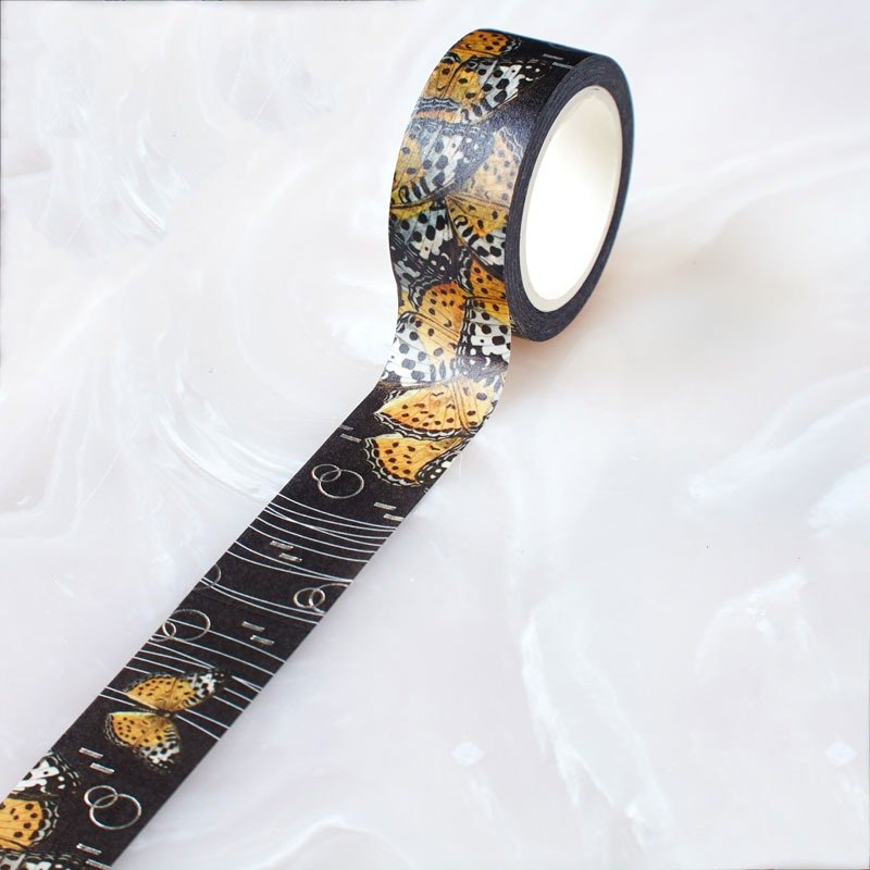 Paper tape Colors of Nature Butterfly orange natural cosmic color hot silver