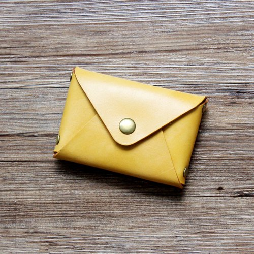 Rugao original yellow tea 10*7cm large-capacity handmade leather card case first layer of leather business card holder card holder card wallet small wallet wallet purse exchange gift wedding gift lover gift birthday gift customized gift