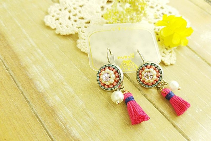 §HUKUROU§ Barcelona Puzzle Tassel Earrings [Bright Diamond Beads]
