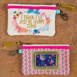 Pom-pom piping canvas ticket purse-Happy Today ∣ CPRS140