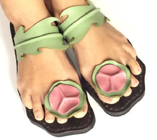 SPECIAL OFFER! Women Leather Sandals ***Bilayer Lotus Leaves design*** ~pistachio color