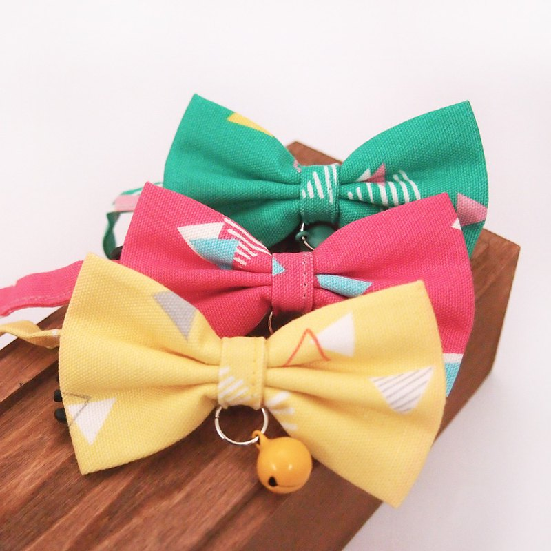 Colorful geometric bows pet decorative collar cat small dog