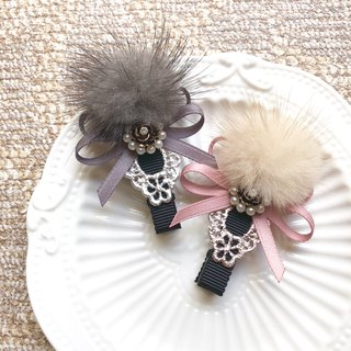 Warm water 貂 hair ball elegant temperament hair clip