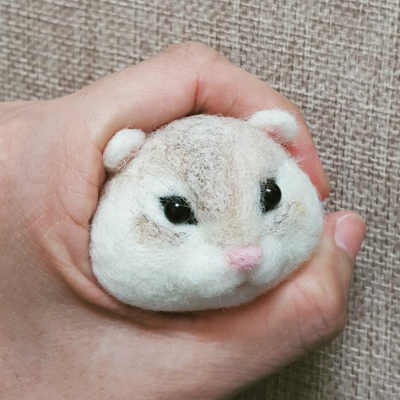 Wool felt small hamster big head cute series key ring strap pin