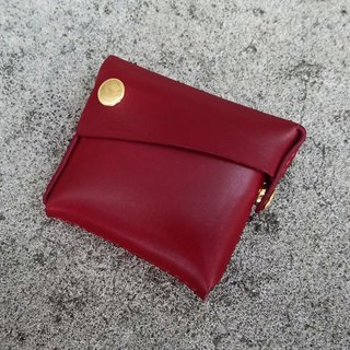 Palm 2.0-dark red vegetable tanned leather coin purse