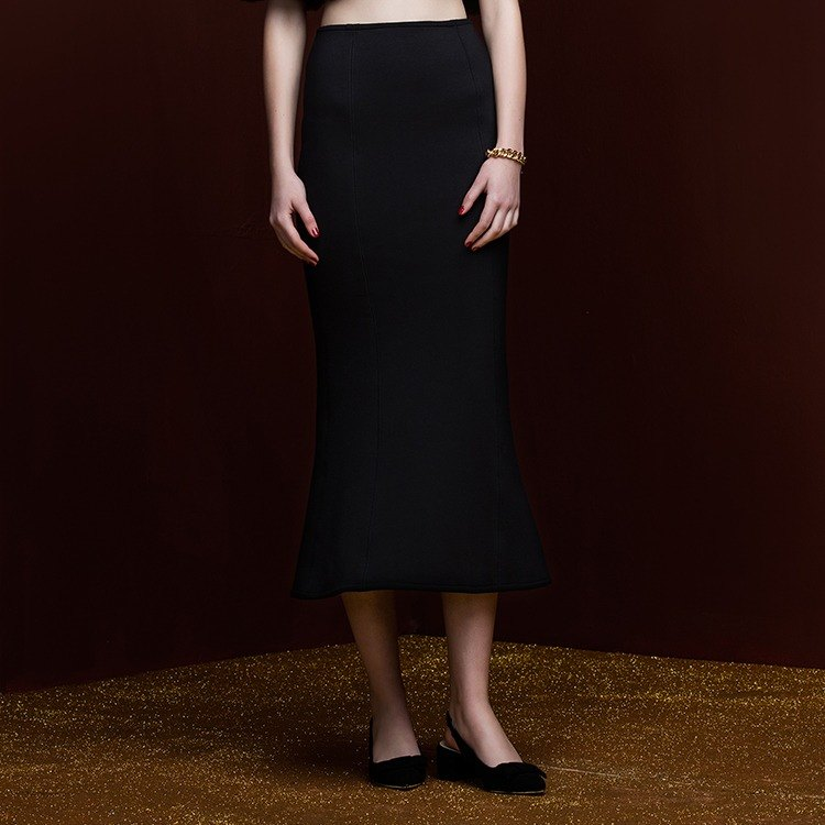VACAE Slim knit fishtail skirt