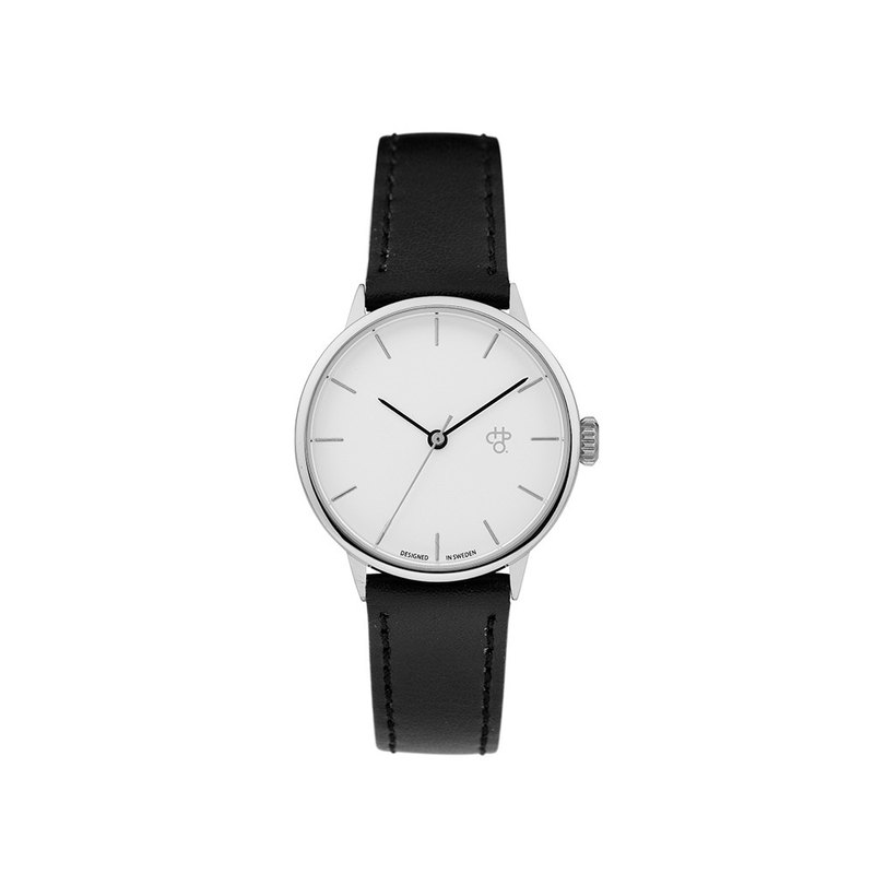 Chpo Brand Swedish Brand - Khorshid Mini Silver and White Dial Black Leather Watch