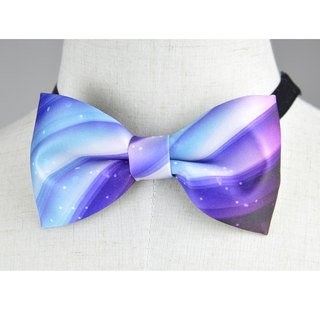 Ribbon bow tie, purple blue pattern bow tie