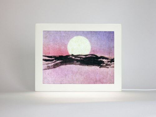 Moon Boat Night Light, Blue Mountain Painting, Minimalist Original Artwork, Abstract Landscape,Chinese Watercolor in A5